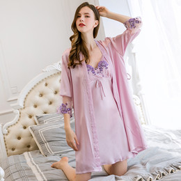 100% Silk Nightgown Sleepwear Robes for Women Home Dress Sets with Camisole  V-neck Sleep Lounge Ladies Bedgown Nightshirt Pajams 197e2dbca