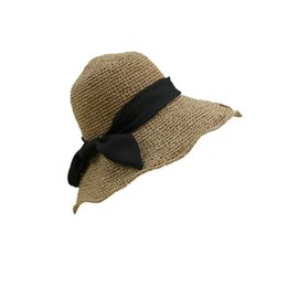 7ac27221f4ec0 Straw Hat Dome UK - New arrival Foldable black bow straw hat for women  summer cupola