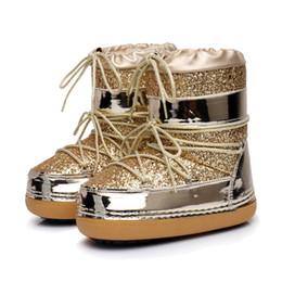 Platform Glitter Ankle UK - Snow Boots Winter Ankle Boots Women Shoes Fur Warm Boots Female Plus Size Casual Shoes Platform Non Slip Gold Bling Lack Up DE