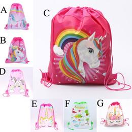 9d62c96e8c8 Bolso con cordón unicornio para niñas Paquete de almacenamiento de viaje  Mochilas escolares de dibujos animados Niños Favores de la fiesta de  cumpleaños ...