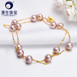 $enCountryForm.capitalKeyWord Australia - [ys] 5.5-6mm Natural Cultured Purple Fresheater Pearl Necklace 18k Gold Chain Wedding Jewelry MX190713