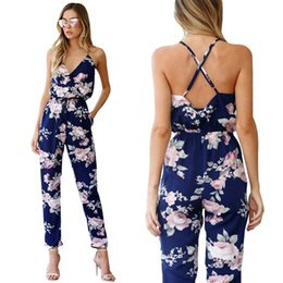 Womens Sleeveless Rompers Australia - 2018 Bkld Rompers Womens Jumpsuit Summer Ladies Blue Sexy Deep V Neck Lace Up Sleeveless Floral Back Cross Casual Jumpsuit Femme Y19060501