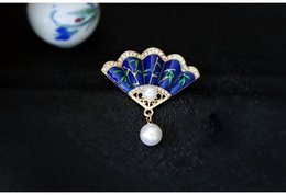 Wholesale Exquisite Chinese Style Retro Fan Breast Flower Pendant Two purpose High end Jacket Pin Classical National Style Jewelry