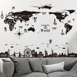 world map murals Australia - [SHIJUEHEZI] World Map Wall Stickers DIY Europe Style Buildings Mural Decals for Living Room Bedroom School Office Decoration D19011702
