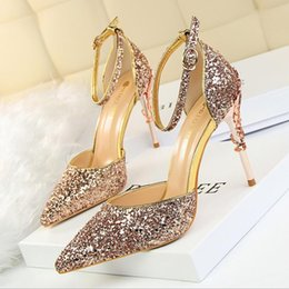 Party bling shoes online shopping - Bling Pointed Toe Sequined Wedding Shoes Pumps High Heel CM Party Toe Sandals Bridal Shoes Evening Toe Prom Women Shoes