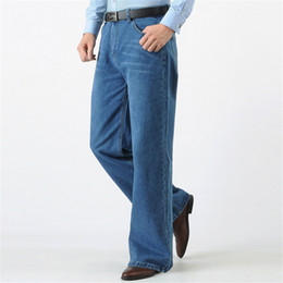 Big Legs Boots UK - European an American New Jeans Fashion Big Boot Cut Leg Pants Loose High Waist Flared Jeans Male Large Size 36 38 40