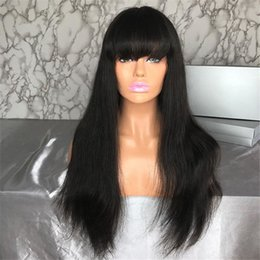 26 Inch Straight Wigs Australia - 150% Glueless Lace Front Human Hair Wigs With Bangs Remy Hair Straight Brazilian Wig With Baby Hair Bleached Knots 12-26 Inch