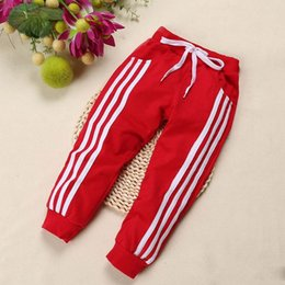 Hot Boys Pants Sports NZ - Hot Spring three bar brace stripe children sports pants boy girl pants 4 color Casual sport trousers For Birthday Gifts
