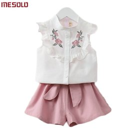 $enCountryForm.capitalKeyWord NZ - 2019 summer Korean baby girls clothing set children heart shirt+bow shorts suit 2pcs kids floral bow clothes set suit