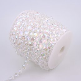 Clear Bead Chain Australia - crystal clear ab 10mm Cotton Fishing Line Artificial Crystal Clear AB Half Round Flatback Pearl Beads Chain DIY Garland Wedding Decoration