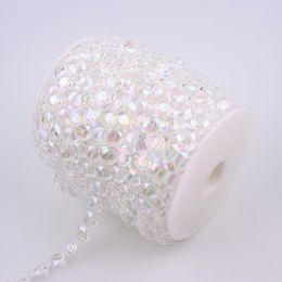$enCountryForm.capitalKeyWord Australia - diy flatback 10mm Cotton Fishing Line Artificial Crystal Clear AB Half Round Flatback Pearl Beads Chain DIY Garland Wedding Decoration