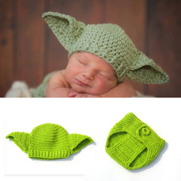 Knit Infant Hats NZ - Infant Boy Knitted Yoda Outfits Photography Props Crochet Baby Hat shorts Set Newborn Baby Christmas Gift