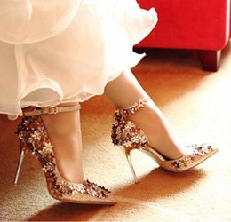 shoes flowers sale NZ - Hot Sale-Shinning Light Gold Wedding Shoes With Flower Ankle Strap Women High Heels Genuine Leather Shoes Size 34