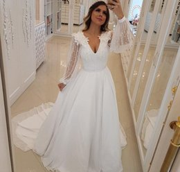 b0ea3a019aa Cheap Long Sleeves Wedding Dress A Line Appliques Beaded Boho Country  Garden Church Formal Bridal Gown Custom Made Plus Size