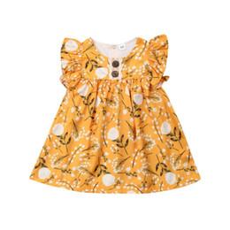 Flowers Girl Dresses Wedding UK - Baby Girl Dress Summer Kids Girls Party Flower Print Wedding Dresses Girls Ruffle Dress Cotton Sundress Casual Girls Dresses