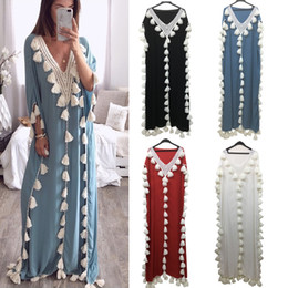Wholesale middle eastern style dresses resale online - 5XL Muslim Dress Arabic Middle Eastern Style Female Tassel Loose Costume Elegant Temperament Spring Autumn All match Robe