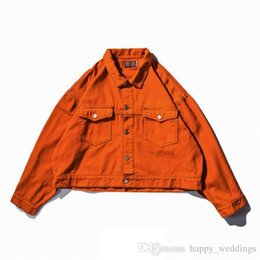L Orange Clothes Australia - Short Design Denim Jacket Men Women Nice New Fashion Mens Jackets Streetwear Clothing Orange Black White
