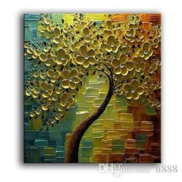 golden tree painting Australia - Abstract Golden Flowers Tree High Quality HandPainted  HD Print Modern Wall Decor Art Oil Painting On Canvas.Multi sizes  frame Options Ls66
