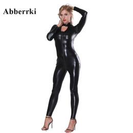 sexy black leather jacket women 2020 - Women Black Double Zipper Faux Leather Bodysuit Slim Jumpsuit Turtleneck Jacket Body Sexy Motorcycle Uniform Catsuit Clu