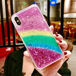 Fit cases online shopping - Rainbow Glitter Liquid Case For Iphone X XR XS MAX Soft TPU Edge With PC Back Cover For Iphone Plus