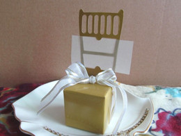 chairs charm Australia - Gold Wedding gift boxes of Miniature Gold Chair Favor Box with Heart Charm and Ribbon 100Pcs lot For Wedding reception gift candy favors