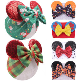 Discount hairband designs 34 Designs Christmas Cartoon Mouse Ears Headband Sequins Bow Headwrap Elastic Bowknot Hairbands Hair Bows Baby Wide Hall