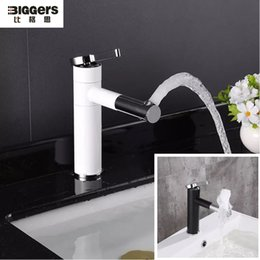 Wholesale Biggers sanitary Modern design copper bathroom basin faucet Rotatable Black White color sink tap with pipes