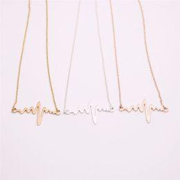$enCountryForm.capitalKeyWord UK - Electrocardiogram form pendant necklace for girls Wave pendant necklace the to women