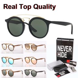 sun glasses shades blue NZ - 4256 Brand Sunglasses Men Women mirror glass lens Gatsby Retro Vintage Eyewear shades Sun glasses with original box, accessories, everything