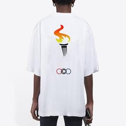 fashion torch NZ - 20SS Olympic Torch Printed Fashion Tee Men Women Solid Color T-Shirt High Street Summer Simple Casual Short Sleeve Breathable Tee HFYMTX893