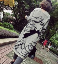 grey cardigan sweater women Canada - Women Thick Sweater Cardigans Autumn Grey Fashion Pretty Girl Printed Long Coats Cape