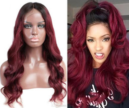 $enCountryForm.capitalKeyWord Australia - Swiss Lace Front Lace Wig Vietnamese Virgin Human Hair Black Root Two Tone Ombre Burgundy 1B 99J Full Lace Wig For Black Woman