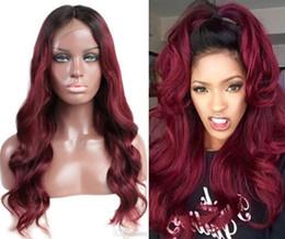 Two Tone Black Burgundy Hair Australia - Swiss Lace Front Lace Wig Vietnamese Virgin Human Hair Black Root Two Tone Ombre Burgundy 1B 99J Full Lace Wig For Black Woman
