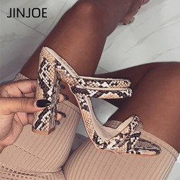 open toe leopard sandals Australia - JINJOE Summer New Women Slippers Sexy Leopard snake Print Open Toe Outer Wear Stiletto High Heel Slipper Square heel sandals
