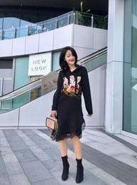 Milan Runway vestidos 2019 Primavera negro con capucha de manga larga con paneles de encaje bordado vestido de diseñador de la marca vestido del mismo estilo 12901