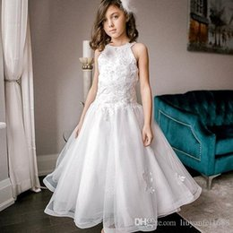 puffy skirt dresses knee length NZ - Puffy Skirt A-Line Flower Girls Dresses 2020 Little Girls Communion Dresses Appliques Beaded vestido daminha de casamento menina