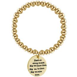 $enCountryForm.capitalKeyWord Australia - fashion lettering circular tag beaded bracelet stainless steel elastic rope DIY bead bracelet
