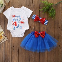 headband tutu rompers 2019 - 3pcs infant girl clothing set summer letter print top and tutu skirt with headbands 4th of July baby rompers discount he