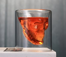 Glass Cup Layer Australia - Skull Skull Wine Cup Crystal Beer Cup Individual Bar Creative Double Layer Transparent Glass Cup