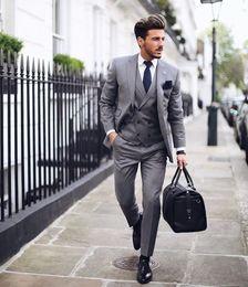 Discount mens button business suit - Fashion Notch Lapel Mens Formal Suits For Weddings Tuxedos Three Pieces (Blazers+Pants+Vest) Formal Business Mens Work S