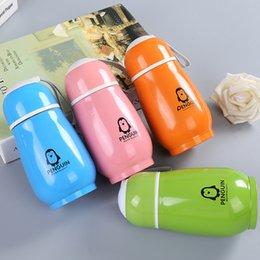 cute tumblers NZ - 300ml Penguin Water Bottles Stainless Steel Double Layer Cute Portable Tumblers Vacuum Flask Thermos Cup CCA11924 30pcs
