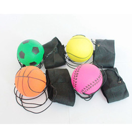 Wholesale Rubber hand throwing foam ball fluorescent stretch wrist band ball 6.3 cm rubber ball ZZA405