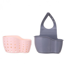 double suction cups UK - Kitchen Accessories Double Pockets Suction Cup Sink Rack Sponge Drain Rack Strainer Draining Storage Basket Kitchen Gadget.BHY0008