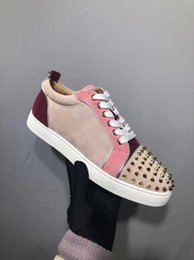 genuine leather parts Australia - Elegant Spikes Low Top Sneaker Red Bottom Shoes Women,Men Trainers Genuine Leather Junior Lace-up Spikes Red Sole Luxury Part