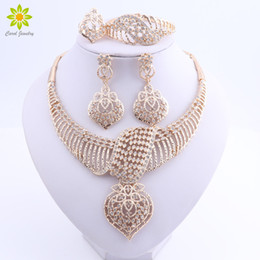 $enCountryForm.capitalKeyWord Australia - Women Wedding Jewelry Sets For Brides Gold Plated Costume Necklace Earrings Set Fashion Indian African Beads Jewelry Set