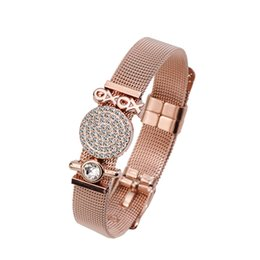 Chinese  Stainless Steel Mesh Belt Keeper Bracelet XOXO Charm Adjustable Watch Band Buckle Cuff Bangle Women Wrist Decor Gift manufacturers