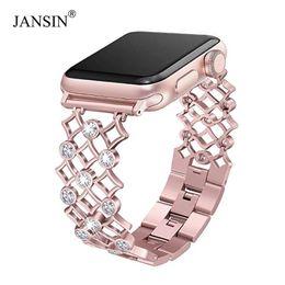 Apple Needle Australia - Women Diamond Watch Band For Apple Watch 38mm 42mm 40mm 44mm Stainless Steel Strap Iwatch Series 4 3 2 1 Wrist Band Bracelet T190620