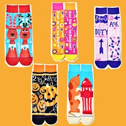 $enCountryForm.capitalKeyWord Australia - Cute Women Designer Socks Halloween Christmas Cartoon Printed Contrast Color Breathable Festival Stockings Women Designer Socks