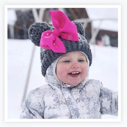 winter bow hats Australia - Winter Bows Baby Hats kids designer hats kids winter hats Crochet Knit Girls Hat Girls Caps Kids Cap newborn cap A9064