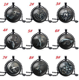 $enCountryForm.capitalKeyWord Australia - New Game of Thrones Necklace House Strek Lannister Targaryen Dragn Wolf Lion Sign Pendant Glass Cabochon Necklace Fashion Jewelry